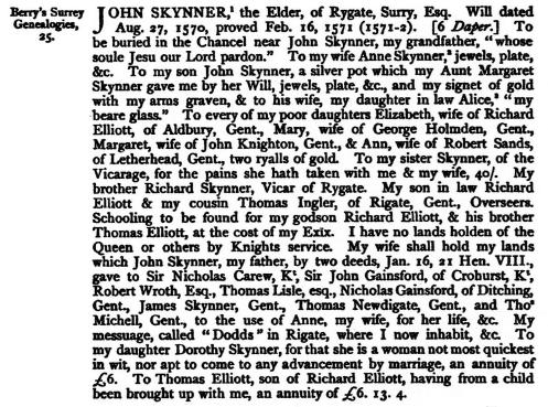 JOHN SKINNER 1570 WILL